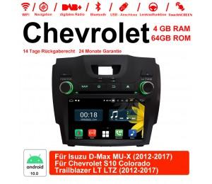 8 Zoll Android 10.0 Autoradio / Multimedia 4GB RAM 64GB ROM Für  Isuzu D-Max MU-X / Chevrolet S10 colorado Trailblazer LTZ 2012-2017 Mit WiFi NAVI Bluetooth USB