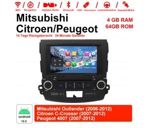 8 Zoll Android 10.0 Autoradio / Multimedia 4GB RAM 64GB ROM Für Mitsubishi Outlander / Citroen C-Crosser / Peugeot 4007 Mit WiFi NAVI Bluetooth USB