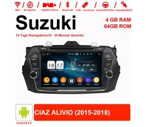 8 Zoll Android 9.0 Autoradio / Multimedia 4GB RAM 64GB ROM Für Suzuki CIAZ ALIVIO 2015-2018 Mit WiFi NAVI Bluetooth USB