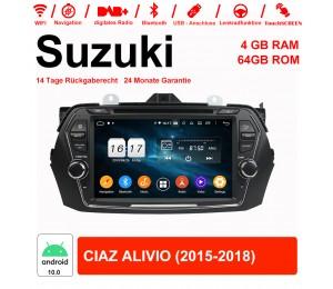 8 Zoll Android 10.0 Autoradio / Multimedia 4GB RAM 64GB ROM Für Suzuki CIAZ ALIVIO 2015-2018 Mit WiFi NAVI Bluetooth USB
