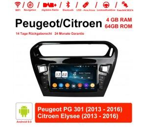 8 Zoll Android 9.0 Autoradio / Multimedia 4GB RAM 64GB ROM Für Peugeot PG 301 / CITROEN Elysee Mit WiFi NAVI Bluetooth USB