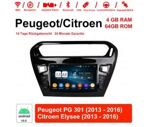 8 Zoll Android 10.0 Autoradio / Multimedia 4GB RAM 64GB ROM Für Peugeot PG 301 / CITROEN Elysee Mit WiFi NAVI Bluetooth USB
