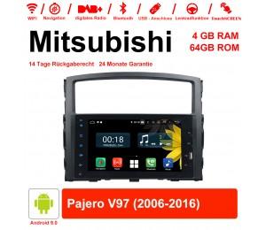 8 Zoll Android 9.0 Autoradio / Multimedia 4GB RAM 64GB ROM Für Mitsubishi Pajero V97 2006-2016 Mit WiFi NAVI Bluetooth USB