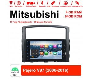 8 Zoll Android 10.0 Autoradio / Multimedia 4GB RAM 64GB ROM Für Mitsubishi Pajero V97 2006-2016 Mit WiFi NAVI Bluetooth USB