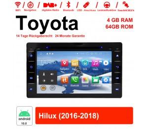 8 Zoll Android 10.0 Autoradio / Multimedia 4GB RAM 64GB ROM Für Toyota Hilux 2016-2018 Mit WiFi NAVI Bluetooth USB