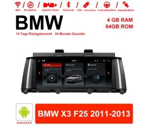 8,8 Zoll Android 9.0 Autoradio / Multimedia 4GB RAM 64GB ROM Für BMW X3 F25 2011-2013 Mit WiFi NAVI Bluetooth USB