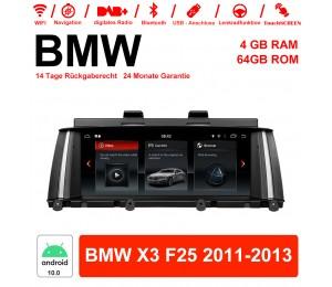 8,8 Zoll Android 10.0 Autoradio / Multimedia 4GB RAM 64GB ROM Für BMW X3 F25 2011-2013 Mit WiFi NAVI Bluetooth USB