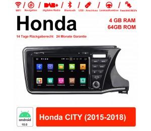 9 Zoll Android 10.0 Autoradio / Multimedia 4GB RAM 64GB ROM Für Honda CITY 2015-2018 Mit WiFi NAVI Bluetooth USB