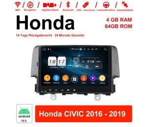 9 Zoll Android 10.0 Autoradio / Multimedia 4GB RAM 64GB ROM Für Honda CIVIC 2016 - 2019 Mit WiFi NAVI Bluetooth 5.0 USB