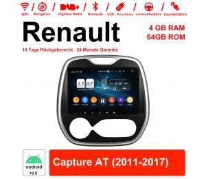 9 Zoll Android 10.0 Autoradio / Multimedia 4GB RAM 64GB ROM Für Renault Capture AT 2011-2017 Mit WiFi NAVI Bluetooth USB