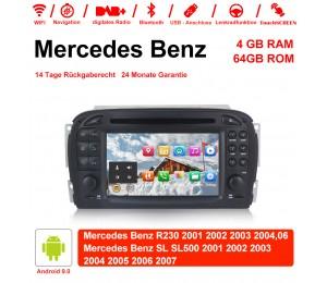 7 Zoll Android 9.0 Autoradio / Multimedia 4GB RAM 64GB ROM Für Mercedes Benz SL R230 SL500 2001-2007 Mit WiFi NAVI Bluetooth USB