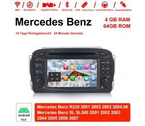 7 Zoll Android 10.0 Autoradio / Multimedia 4GB RAM 64GB ROM Für Mercedes Benz SL R230 SL500 2001-2007 Mit WiFi NAVI Bluetooth USB