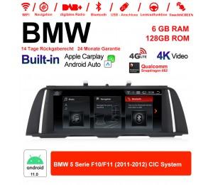 10.25 Zoll Qualcomm Snapdragon 662 8 Core Android 11.0 4G LTE Autoradio / Multimedia USB WiFi Navi Carplay Für BMW 5 Series F10 / F11 2011-2012 CIC
