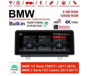 10.25 Zoll Qualcomm Snapdragon 662 8 Core Android 11.0 4G LTE Autoradio / Multimedia 6GB RAM 128GB ROM USB WiFi Navi Carplay Für BMW 1 Serie / 2 Serie