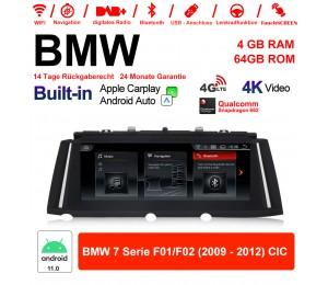 10.25 Zoll Qualcomm Snapdragon 662 8 Core Android 11.0 4G LTE Autoradio / Multimedia USB WiFi Navi Carplay Für BMW 7 Series F01/F02 2009-2012 CIC