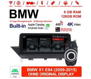 10.25 Zoll Qualcomm Snapdragon 662 8 Core Android 11.0 4G LTE Autoradio / Multimedia 6GB RAM 128GB ROM USB WiFi Navi Carplay Für BMW X1 E84 (2009-2015)