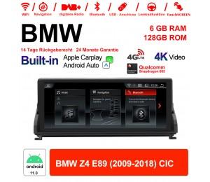 10.25 Zoll Qualcomm Snapdragon 662 8 Core Android 11.0 4G LTE Autoradio / Multimedia USB WiFi Navi Carplay Für BMW Z4 E89 (2009-2018) CIC