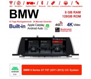 10.25 Zoll Qualcomm Snapdragon 662 8 Core Android 11.0 4G LTE Autoradio / Multimedia USB WiFi Navi Carplay Für BMW 5 Series F07 GT 2011-2012 CIC