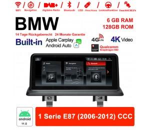 10.25 Zoll Qualcomm Snapdragon 662 8 Core Android 11.0 4G LTE Autoradio / Multimedia USB WiFi Navi Carplay Für BMW 1er E87 (2006-2012) CCC