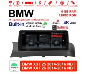10.25 Zoll Qualcomm Snapdragon 662 8 Core Android 11.0 4G LTE Autoradio / Multimedia USB WiFi Navi Carplay Für BMW X3/X4 F25/26 (2014-2016) NBT