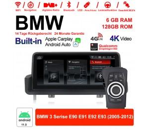 10.25 Zoll Qualcomm Snapdragon 662 8 Core Android 11.0 4G LTE Autoradio / Multimedia USB WiFi Navi Carplay Für BMW 3 Series E90 E91 E92 E93