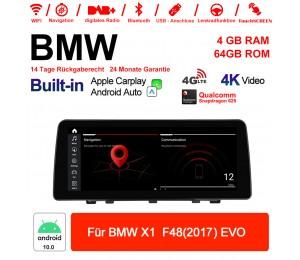 12.3 Zoll Qualcomm Snapdragon 625 8 Core Android 10.0 4G LTE Autoradio / Multimedia USB WiFi Carplay Für BMW X1 F48 2017 EVO