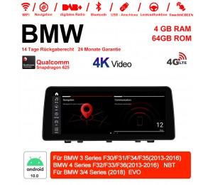 12.3 Zoll Qualcomm Snapdragon 625 8 Core Android 10.0 4G LTE Autoradio / Multimedia 4GB RAM 64GB ROM Für BMW 3/4 Series(2013-2018) Mit WiFi
