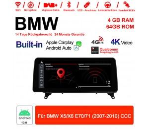 12.3 Zoll Qualcomm Snapdragon 625 8 Core Android 10.0 4G LTE Autoradio / Multimedia USB WiFi Navi Carplay Für BMW X5/X6 E70/71 (2007-2010) CCC