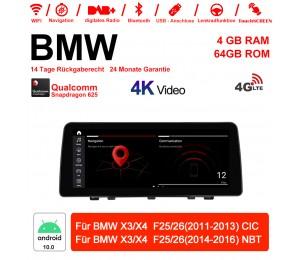 12.3 Zoll Qualcomm Snapdragon 625 8 Core Android 10.0 4G LTE Autoradio / Multimedia 4GB RAM 64GB ROM Für BMW X3/X4 F25/26 (2011-2016) Mit WiFi