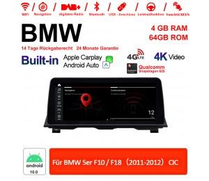12.3 Zoll Qualcomm Snapdragon 625 8 Core Android 10.0 4G LTE Autoradio / Multimedia WiFi USB Carplay Für BMW 5 Series F10/F18(2011-2012) CIC