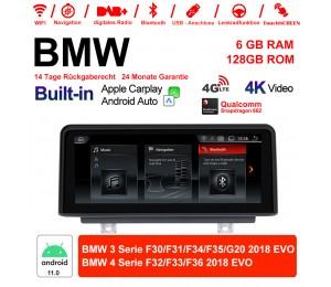 10.25 Zoll Qualcomm Snapdragon 662 8 Core Android 11.0 4G LTE Autoradio / Multimedia USB WiFi Navi Carplay Für BMW 3/4 Series (2018) EVO