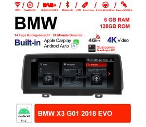10.25 Zoll Qualcomm Snapdragon 662 8 Core Android 11.0 4G LTE Autoradio / Multimedia USB WiFi Navi Carplay Für BMW X3 G01 (2018) EVO