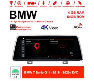 10.25 Zoll Qualcomm Snapdragon 625 (MSM8953) 8 Core Android 10.0 4G LTE Autoradio / Multimedia 4GB RAM 64GB ROM Für BMW 7 Serie G11 (2016 - 2020) EVO Mit WiFi NAVI Bluetooth USB
