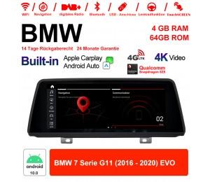 10.25 Zoll Qualcomm Snapdragon 625 8 Core Android 10.0 4G LTE Autoradio / Multimedia WiFi USB Carplay Für BMW 7 Serie G11 (2016 - 2020) EVO