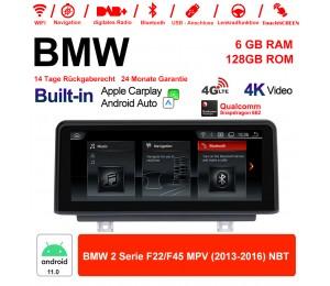 8.8 Zoll Qualcomm Snapdragon 662 8 Core Android 11.0 4G LTE Autoradio / Multimedia 6GB RAM 128GB ROM USB WiFi Carplay Für BMW 2 Series F22/F45 MPV NBT