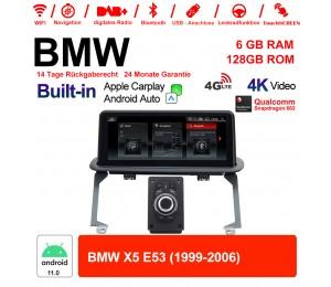 10.25 Zoll Qualcomm Snapdragon 662 8 Core Android 11.0 4G LTE Autoradio / Multimedia 6GB RAM 128GB ROM USB WiFi Navi Carplay Für BMW X5  E53 1999-2006