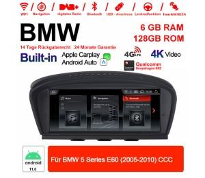 8.8 Zoll Qualcomm Snapdragon 662 8 Core Android 11.0 4G LTE Autoradio / Multimedia USB WiFi Navi Carplay Für BMW 5 Series E60 (2005-2010) CCC