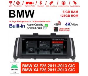 10.25 Zoll Qualcomm Snapdragon 662 8 Core Android 11.0 4G LTE Autoradio / Multimedia USB WiFi Navi Carplay Für BMW X3/X4 F25/26(2011-2013) CIC