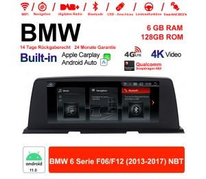 10.25 Zoll Qualcomm Snapdragon 662 8 Core Android 11.0 4G LTE Autoradio / Multimedia USB WiFi Navi Carplay Für BMW 6 Series F06 /F12 2013-2017 NBT