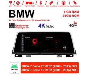 10.25 Zoll Qualcomm Snapdragon 625 (MSM8953) 8 Core Android 10.0 4G LTE Autoradio / Multimedia 4GB RAM 64GB ROM Für BMW 7 Serie F01 / F02 CIC / NBT 2009 - 2015 Mit WiFi NAVI Bluetooth USB