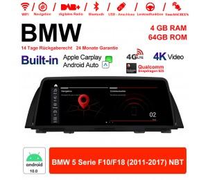 10.25 Zoll Qualcomm Snapdragon 625 8 Core Android 10.0 4G LTE Autoradio / Multimedia WiFi USB Carplay Für BMW 5 Serie F10 / F18 NBT