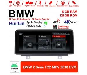 8.8 Zoll Qualcomm Snapdragon 662 8 Core Android 11.0 4G LTE Autoradio / Multimedia USB WiFi Navi Carplay Für BMW 2 Series MPV (2018) EVO
