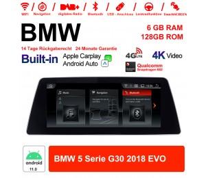 10.25 Zoll Qualcomm Snapdragon 662 8 Core Android 11.0 4G LTE Autoradio / Multimedia USB WiFi Navi Carplay Für BMW 5 Series G30 (2018) EVO