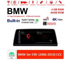 10.25 Zoll Qualcomm Snapdragon 625 8 Core Android 10.0 4G LTE Autoradio / Multimedia USB WiFi Navi Carplay Für BMW 3 Series E90 CCC