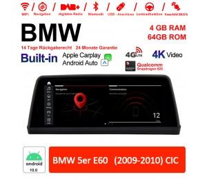 10.25 Zoll Qualcomm Snapdragon 625 8 Core Android 10.0 4G LTE Autoradio / Multimedia WiFi USB Carplay Für BMW 5 Series E60 CIC