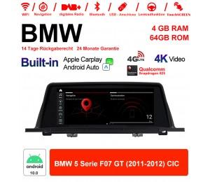10.25 Zoll Qualcomm Snapdragon 625 8 Core Android 10.0 4G LTE Autoradio / Multimedia USB Carplay Für BMW 5 Serie F07 GT 2011 - 2012 CIC