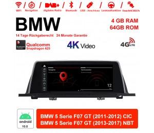 10.25 Zoll Qualcomm Snapdragon 625 (MSM8953) 8 Core Android 10.0 4G LTE Autoradio / Multimedia 4GB RAM 64GB ROM Für BMW 5 Serie F07 GT CIC/NBT 2011 - 2017 Mit WiFi NAVI Bluetooth USB