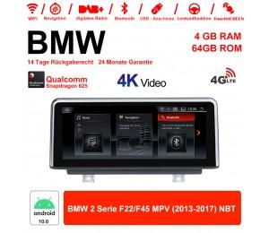 8.8 Zoll Qualcomm Snapdragon 625 (MSM8953) 8 Core Android 10.0 4G LTE Autoradio / Multimedia 4GB RAM 64GB ROM Für BMW 2 Serie F22 / F45 MPV 2013-2017 NBT Mit WiFi NAVI Bluetooth USB
