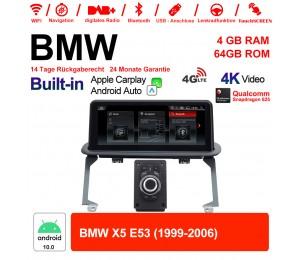 10.25 Zoll Qualcomm Snapdragon 625 8 Core Android 10.0 4G LTE Autoradio / Multimedia USB WiFi Navi Carplay Für BMW X5 E53 1999 - 2006