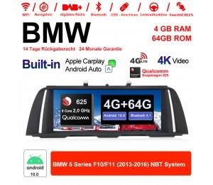 10.25 Zoll Qualcomm 625 (MSM8953) 8Core A53 2.0 GHZ Android 10.0 4G LTE Autoradio/Multimedia USB WiFi NAVI Carplay Für BMW 5 Serie F10 F11 NBT
